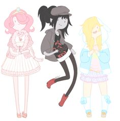 Princess Bubblegum, Marceline and Fiona the human