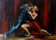 Original Oil Painting  Lovers  Passion Tango Dance  Love
