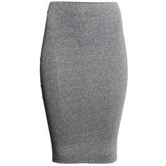 skirt gray dark melange H&M Jersey Pencil ❤ liked on Polyvore