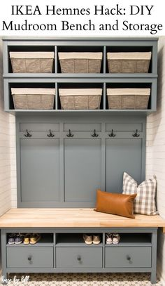 Who doesn't need an organized space to hang all the things and house all the shoes? We finished our IKEA Hemnes Hack: DIY Mudroom Bench and Storage unit in our (almost finished) Mudroom/laundry room, Ikea Entryway, Ikea Mudroom Ideas, Entryway Ideas, Mudroom Benches, Mudroom Storage Bench, Storage Benches, Entryway Organization, Diy Entryway Storage, Cloakroom Storage
