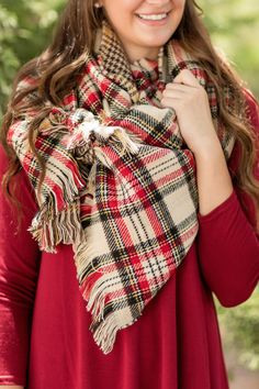 Fall Fashion, Fall Scarf, Reversible Scarf, OOTD, Plaid Scarf- Double Duty Reversible Plaid Scarf-Ivory by Jane Divine Boutique www.janedivine.com