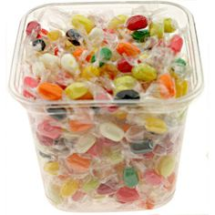 Jelly Belly Sugar-Free  jelly beans in a clear. re-sealable bulk tub with lid. Portable. convenient size. individually-wrapped. Fruity