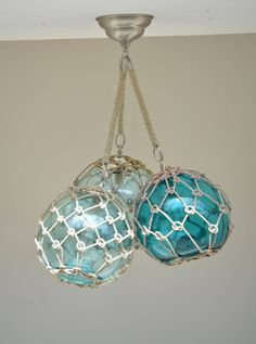 Glass Fishing Float Cluster Pendant Light with 3 Floats and