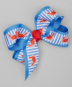 Picture Perfect Hair Bows Blue & Red Crab Bow Hair Clip