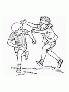 dibujo del juego de la gallinita ciega