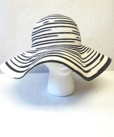 Black White Wide Brimmed Hat Floppy Wedding by sweetie2sweetie