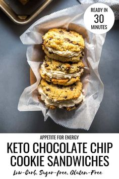 With a sweet whipped cream sandwiched between soft, chocolatey cookies, this simple recipe for Keto Chocolate Chip Cookie Sandwiches will satisfy any craving. Our foolproof recipe uses erythritol (eg. Swerve) and sugar-free Chocolate (eg. Lily's). Make these low-carb, ketogenic, gluten-free treats in just 30 minutes!   #ketocookies #glutenfree #keto #ketochocolatechipcookies via @appetitefornrg