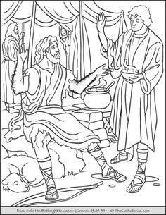 Esau Sells Birthright to Jacob Coloring Page.