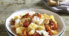 The best Ribbon Pasta with Tomato and Prawn Ragout recipe you will ever find. Welcome to RecipesPlus, your premier destination for delicious and dreamy food inspiration. Ribbon Pasta, Prawn Recipes, Tomato Sauce, Pasta Salad, Food Inspiration, Potato Salad, Seafood, Cooking, Koken