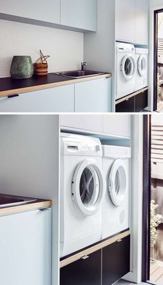 Laundry Room Design Idea Raise Your Washer And Dryer Up Off The Floor - Modern Laundry Room Cabinets, Laundry Room Storage, Laundry Rooms, Basement Laundry, Small Storage, Storage Spaces, Storage Ideas, Laundry Room Inspiration, Laundry Room Design