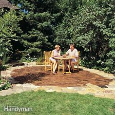 add a welcoming feature to your backyard with this attractive, long-lasting brick and stone patio. our design easily adapts to fit your yard. choose from a wide variety of stone types and brick styles. the result will be permanent and maintenance-free.