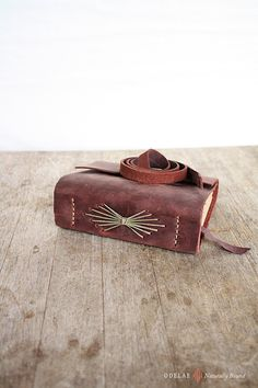 Old World Rose. Leather Journal  Handstitched Natural by odelae, $70.00