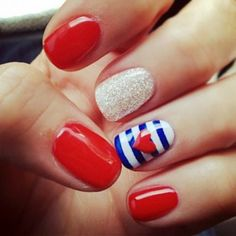 Red, White, and Blue Nails.