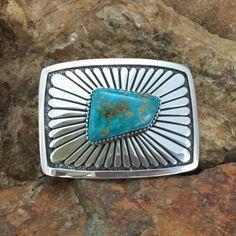 Tommy Jackson Blue Gem Turquoise Sterling Silver Belt Buckle