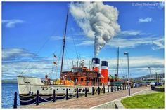 waverley blowing off steam at custom house quay, greenock