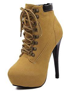 Padgene Damen Super High Heels Plateau Ankle Boots Stiefel Stiletto Stiefelletten Schnürerschuhe - http://on-line-kaufen.de/padgene/padgene-damen-super-high-heels-plateau-ankle