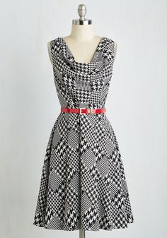 Computer Tutor Dress in Houndstooth by ModCloth - Black, White, Houndstooth, Print, Pockets, Work, A-line, Sleeveless, Woven, Better, Exclusives, Variation, Private Label, Mid-length