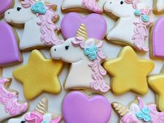 Flour Box Bakery has hand-iced decorated cookie gifts and favors, how-to cookie decorating video tutorials, and professional and affordable decorating supplies. Fall Cookies, Iced Cookies, Sugar Cookies, Unicorn Birthday, Unicorn Party, Unicorn Head, 4th Birthday, Birthday Parties, Macarons