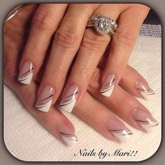 latest and hottest french nail art designs ideas 2019 17 French Tip Nail Designs, French Nail Art, Gel Nail Designs, French Manicure Nails, French Tip Nails, My Nails, Nail Nail, Nagellack Design, Bridal Nail Art