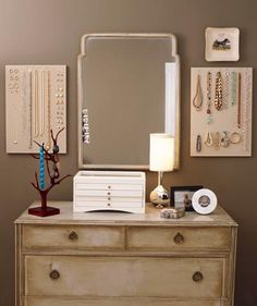 Use Walls as Displays - Hang up your jewelry, or pretty cutting boards and trivets, to clear out valuable drawer space in the bedroom or kitchen.
