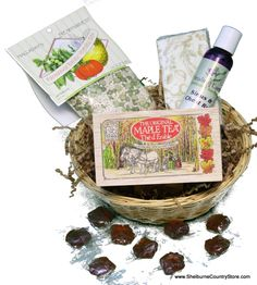 The Feel Better Basket...Is that special someone feeling a little down and out with a winter cold?  Cheer them up (and maybe even fix them!)  Our round willow basket comes packed with a wooden crate of Maple Tea Teabags, Halladay's Barley Vegetable Soup Mix, Healing Earth's Sinus & Chest Rub, A package of Caspari designer Pocket Tissues, and 9 Hard Maple candy Leaves to soothe their throat. #Getwell #Giftbasket