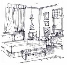 Interior Designer Sketches bedroom sketch | drawing designs, sketches and drawings