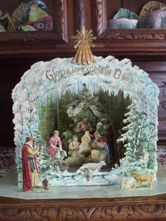 19th C Hagelberg Victorian German Die Cut Paper Pop Up Christmas Nativity Scene | eBay
