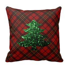 Adorable Red tartan  with Christmas tree green sparkles Throw Pillow Cushion by #PLdesign #ChristmasSparkles #SparklesGift