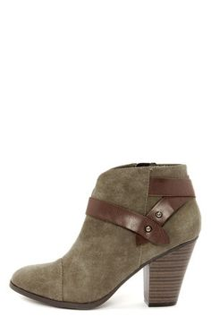 City Classified Brag Khaki Suede Belted Ankle Boots at LuLus.com! These are gorgeous! I like the leather detail and the taupe khaki color will go with jeans or a cute dress. #lulus #holidaywear