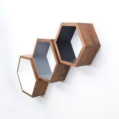 Nesting Hexagon Shelves - Honeycomb - Modular Wall Shelf - Home Decor - Bathroom Storage - Mid-Century Modern - 3 Handcrafted Wooden Shelves