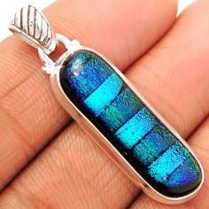 Dichoric Glass 925 Sterling Silver Pendant Jewelry DICP377