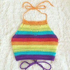 Items similar to Rainbow Crochet Halter - Cotton Crop Top - LGBTQ Pride - Unisex Festival Top - Vegan Clothing - Handmade in USA - Made to Order - Noelebelle on Etsy Bikinis Crochet, Crochet Halter Tops, Crochet Bikini Top, Crochet Blouse, Crochet Hat Size Chart, Débardeurs Au Crochet, Hand Crochet, Crochet Hats, Cotton Crochet
