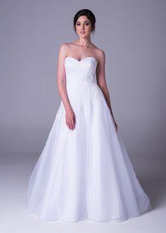 Bride&co wedding dress, Side draped dress with lace applique