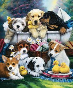 """Bathtime Pups"" -- Jenny Newland"