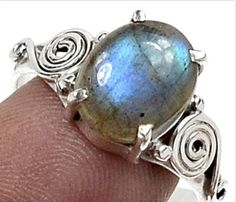 Labradorite Ring .925 Sterling Silver Sz 8.5. Starting at $1 on Tophatter.com!