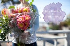 How to make a bouquet from flowers at Trader Joe's