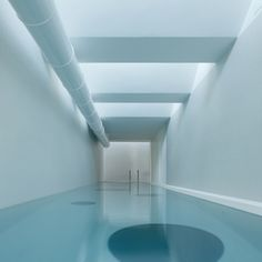 THIS POOL LOCATED ON THE TOP FLOOR OH A HOME lets swimmers have a peek through the  floors