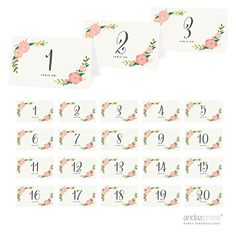 Andaz Press Table Tent Place Cards on Perforated Paper, Tea Party Floral Print, Table Number… Diy Wedding Supplies, Diy Party Supplies, Printable Place Cards, Tea Party Table, Tabletop Accessories, Camping Accessories, Table Tents, Tent Cards, Table Numbers