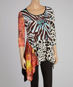 Another great find on #zulily! Blue & Orange Abstract Handkerchief Tunic - Women & Plus by Sole Dione #zulilyfinds