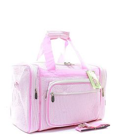 Personalized Seersucker Striped Pink 17 Duffle by GiftsHappenHere
