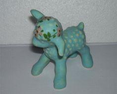Vintage Aqua Blue Pottery Lamb Figurine Pink Flowers
