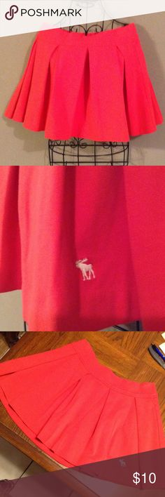 """NWOT ABERCROMBIE Pleated Red Skirt Great with tights and boots! Super cute mini with to die for flare! Bright red. Never worn. Waist is 15"""" and length is 15"""". Abercrombie & Fitch Skirts Mini"""