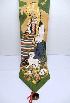 vintage Heidi wall hanging girl and lamb textile art by brixiana