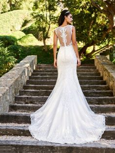 Moonlight Collection J6582 beautiful sheer lace bateau back with buttons and lattice net chapel train #sheerback #sexyback #weddingdress #bride #lace #rustic
