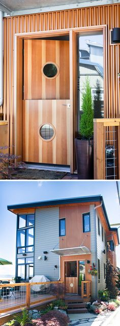 Door Design Ideas – 9 Examples Of Modern Dutch Doors | Various shades of wood and a circular window on each half of the door, makes this door blend in with the copper siding used around the house.