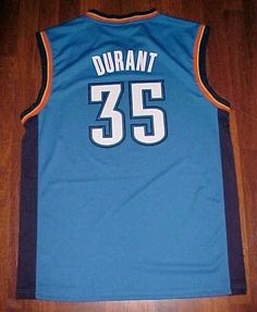 0b0868009 Details about Kevin Durant 35 Oklahoma City Thunder NBA adidas Blue  Basketball Jersey L