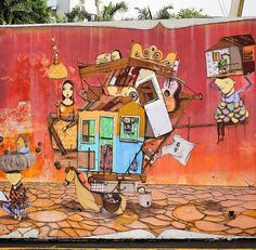 by Os Gemeos + Xabu in San Juan, Puerto Rico (LP)