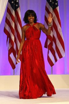 Yet again she kills it love this woman. First Lady Michelle Obama Wears a Jason Wu Red Gown To The 2013 Inaugural Ball