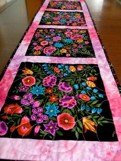 Quilted patchwork table runner Kaffe Fassett by StephsQuilts