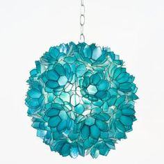turquoise glass hanging lamp